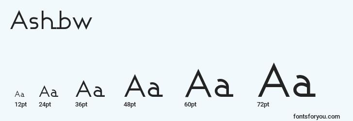 sizes of ashbw font, ashbw sizes