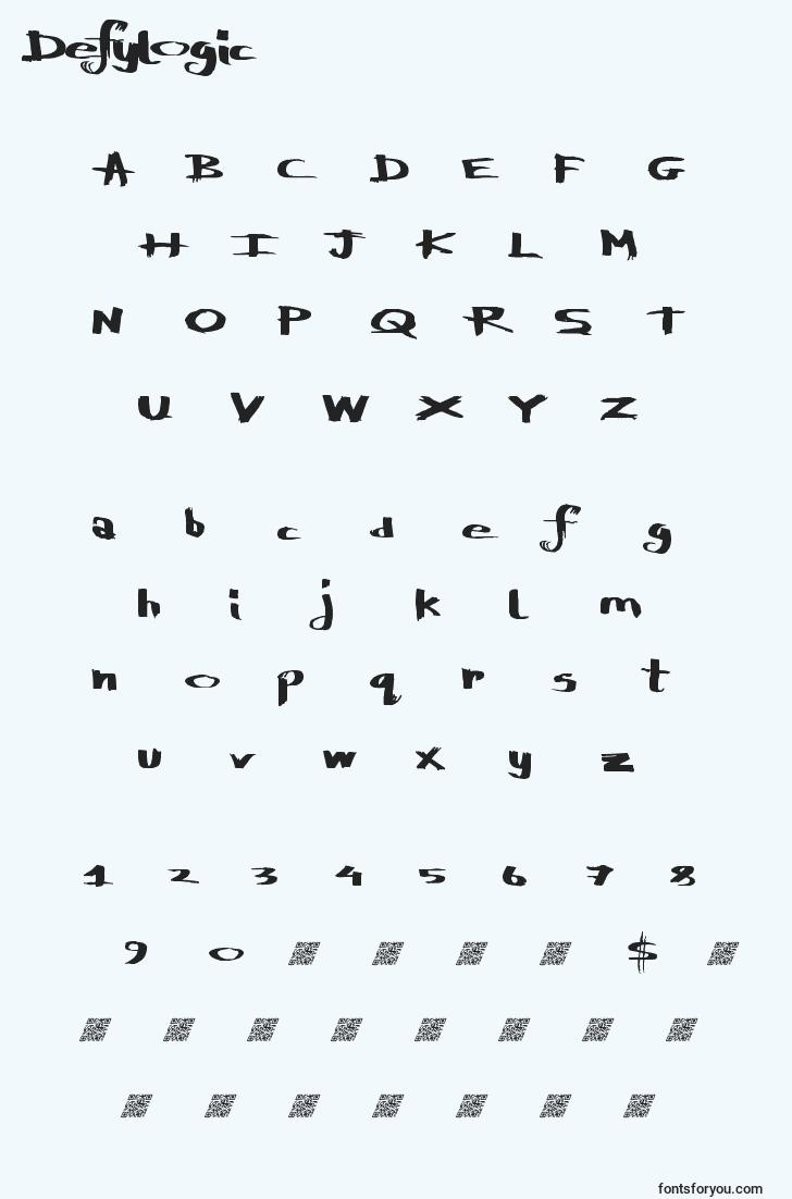 characters of defylogic font, letter of defylogic font, alphabet of  defylogic font