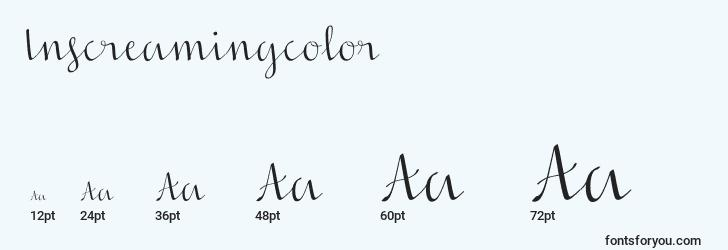 sizes of inscreamingcolor font, inscreamingcolor sizes