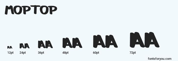 sizes of moptop font, moptop sizes