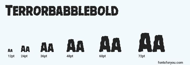 sizes of terrorbabblebold font, terrorbabblebold sizes