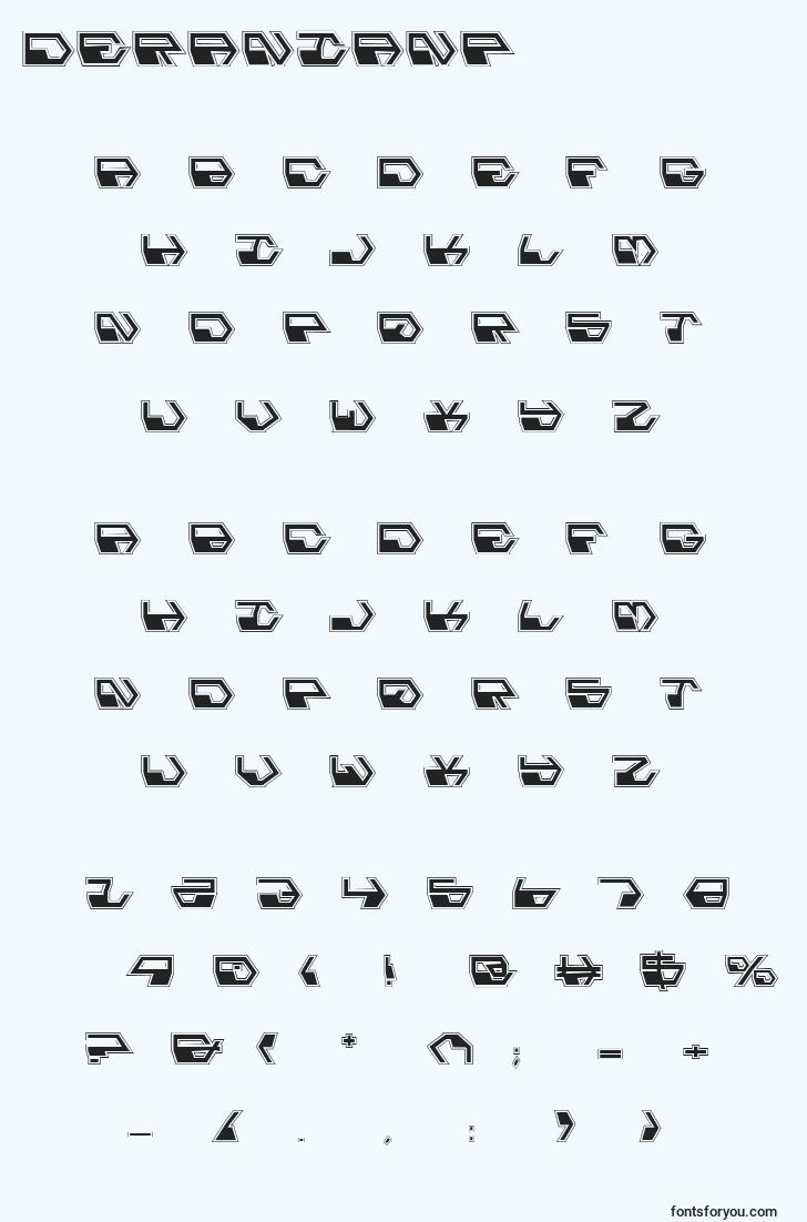 characters of deranianp font, letter of deranianp font, alphabet of  deranianp font