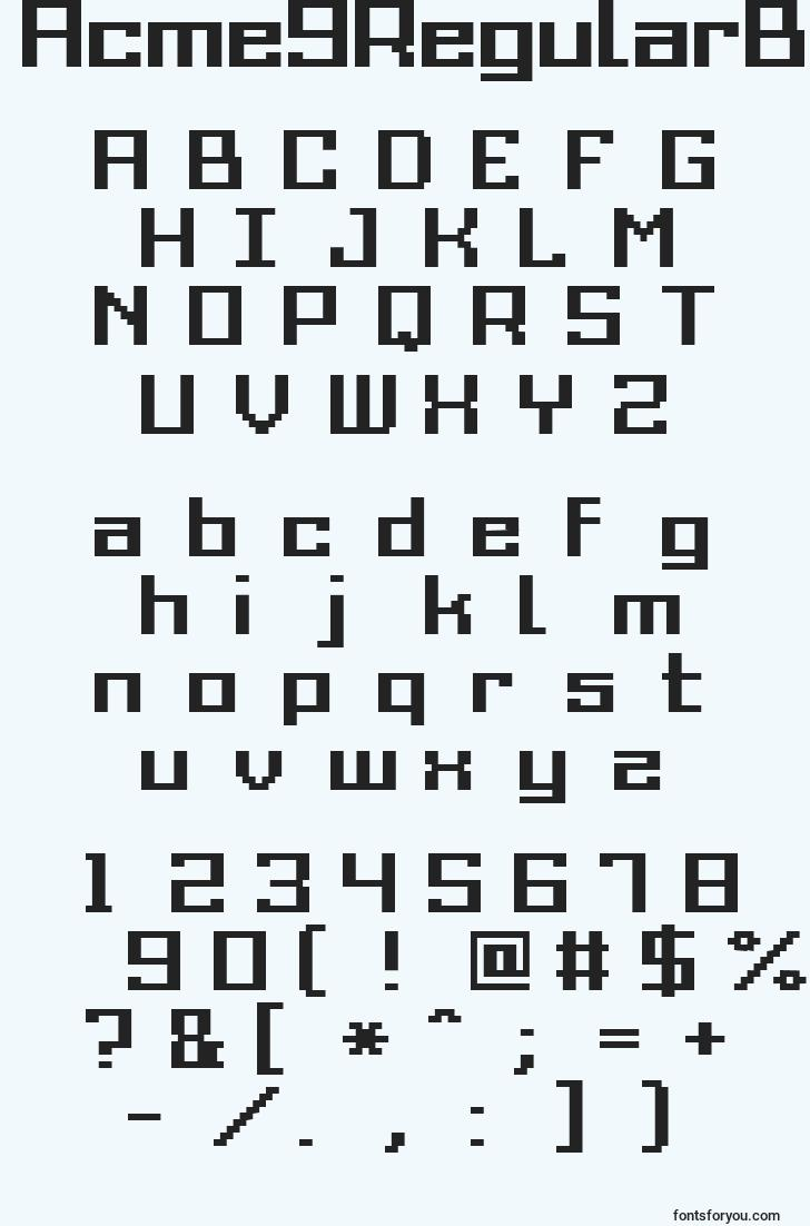 characters of acme9regularbold font, letter of acme9regularbold font, alphabet of  acme9regularbold font