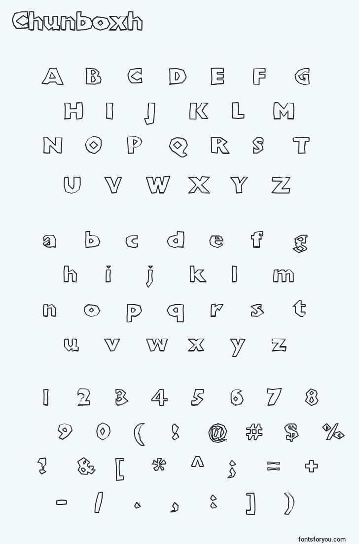characters of chunboxh font, letter of chunboxh font, alphabet of  chunboxh font