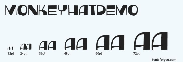 sizes of monkeyhatdemo font, monkeyhatdemo sizes