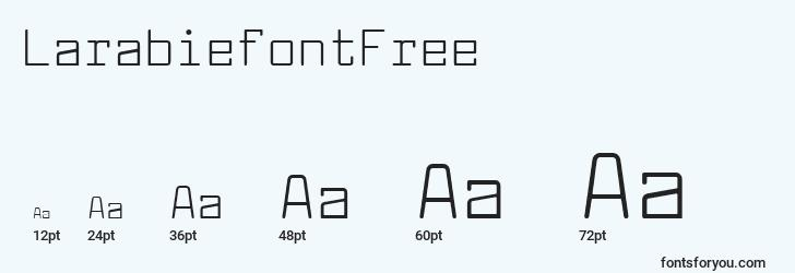 sizes of larabiefontfree font, larabiefontfree sizes