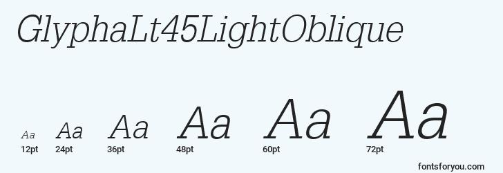 sizes of glyphalt45lightoblique font, glyphalt45lightoblique sizes