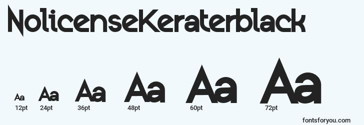 sizes of nolicensekeraterblack font, nolicensekeraterblack sizes