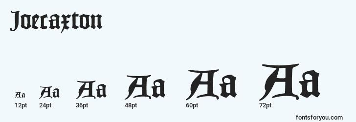 sizes of joecaxton font, joecaxton sizes