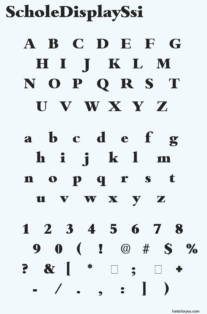 characters of scholedisplayssi font, letter of scholedisplayssi font, alphabet of  scholedisplayssi font