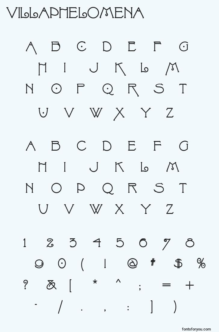 characters of villaphelomena font, letter of villaphelomena font, alphabet of  villaphelomena font