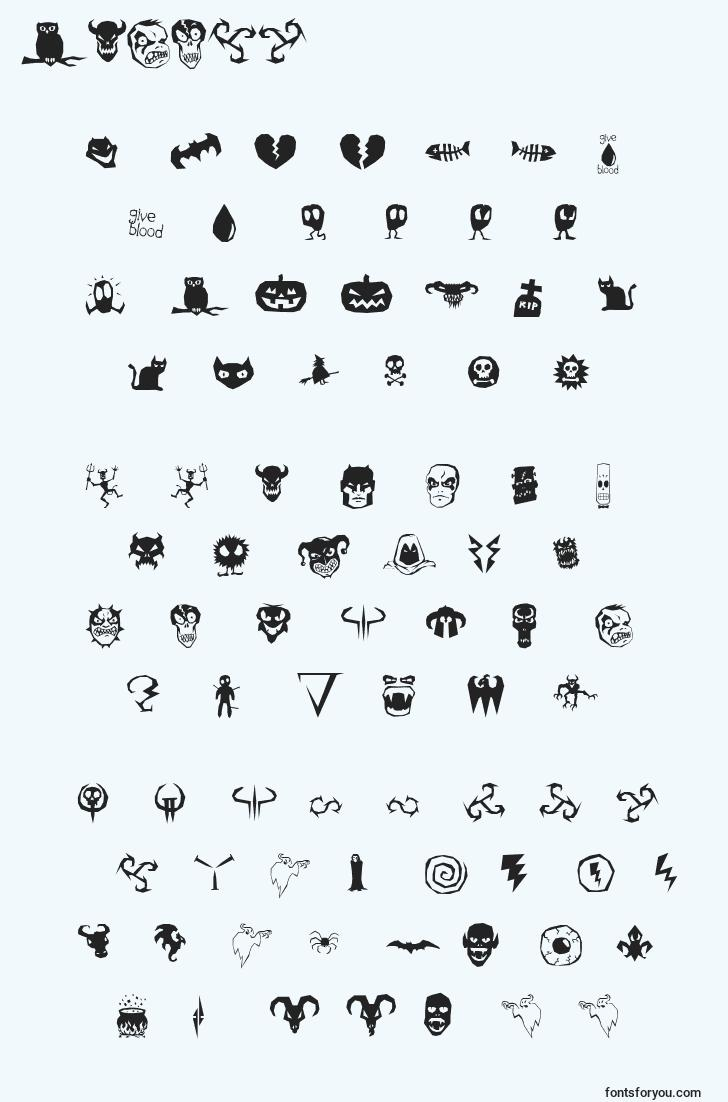 characters of octo98 font, letter of octo98 font, alphabet of  octo98 font