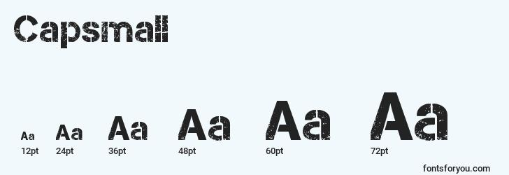 sizes of capsmall font, capsmall sizes