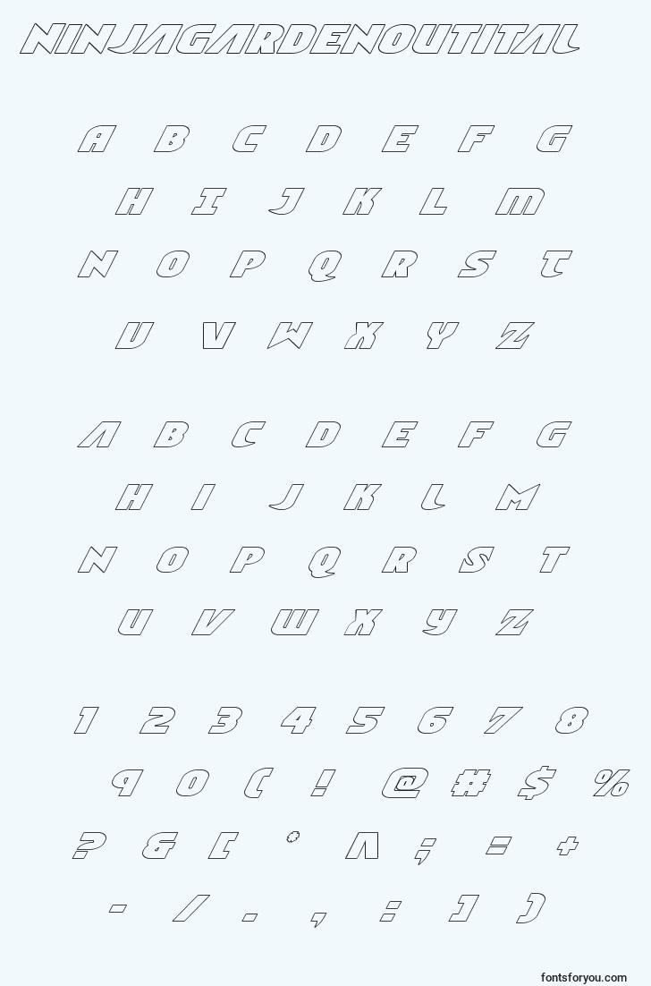 characters of ninjagardenoutital font, letter of ninjagardenoutital font, alphabet of  ninjagardenoutital font