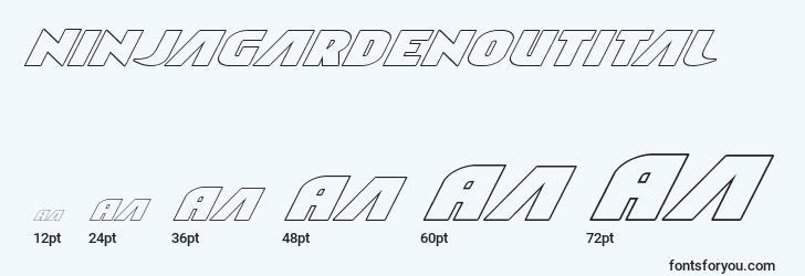 sizes of ninjagardenoutital font, ninjagardenoutital sizes