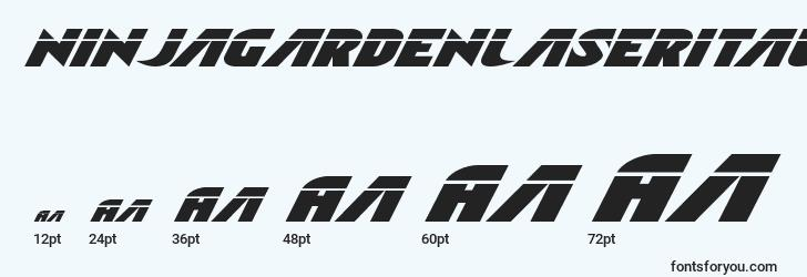 sizes of ninjagardenlaserital font, ninjagardenlaserital sizes