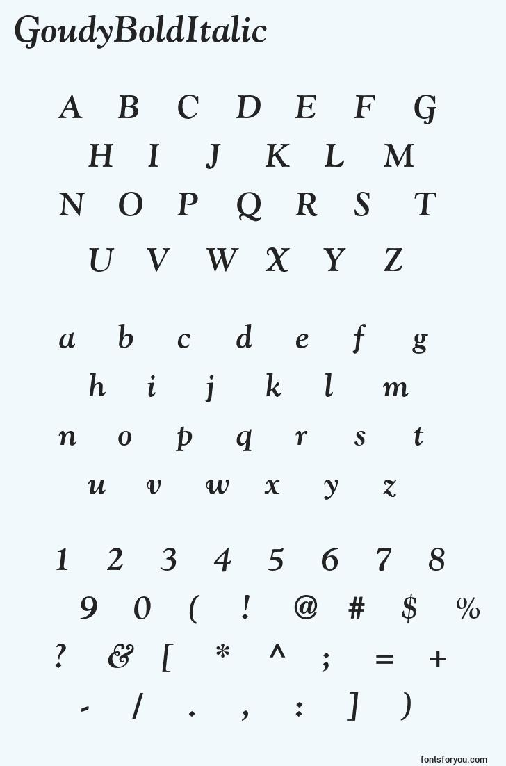 characters of goudybolditalic font, letter of goudybolditalic font, alphabet of  goudybolditalic font