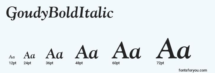 sizes of goudybolditalic font, goudybolditalic sizes