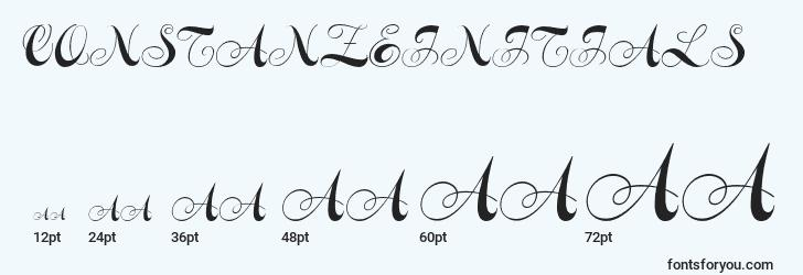 sizes of constanzeinitials font, constanzeinitials sizes