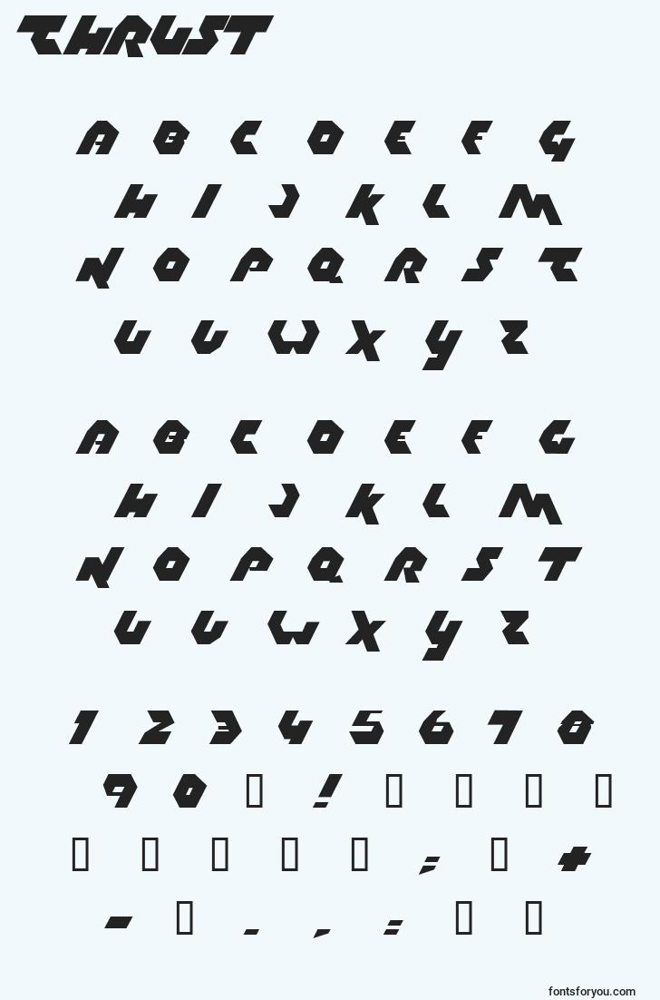 characters of thrust font, letter of thrust font, alphabet of  thrust font