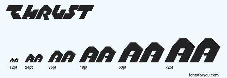 sizes of thrust font, thrust sizes