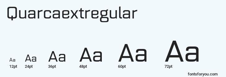 sizes of quarcaextregular font, quarcaextregular sizes