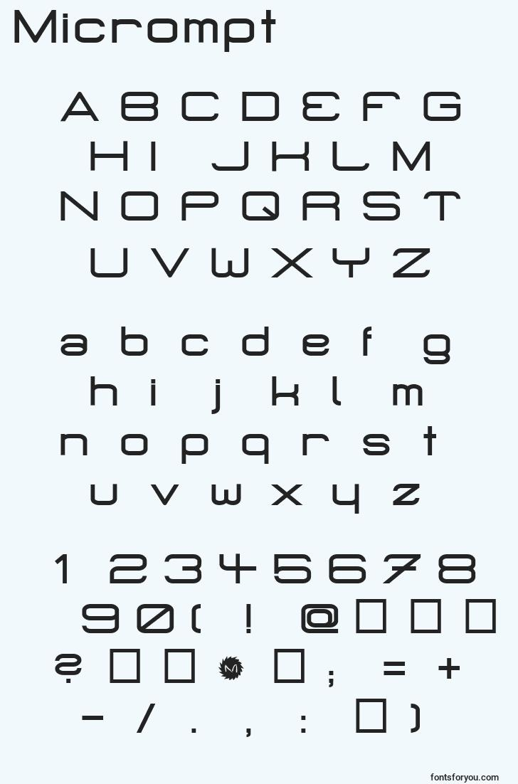 characters of micrompt font, letter of micrompt font, alphabet of  micrompt font