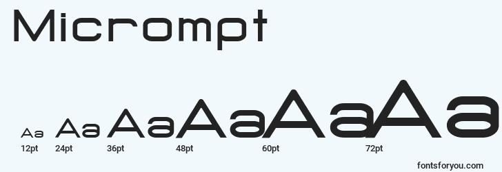 sizes of micrompt font, micrompt sizes