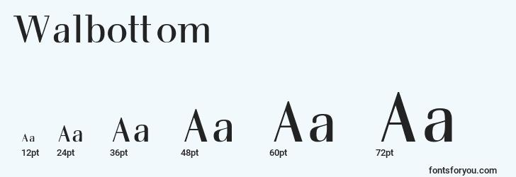sizes of walbottom font, walbottom sizes