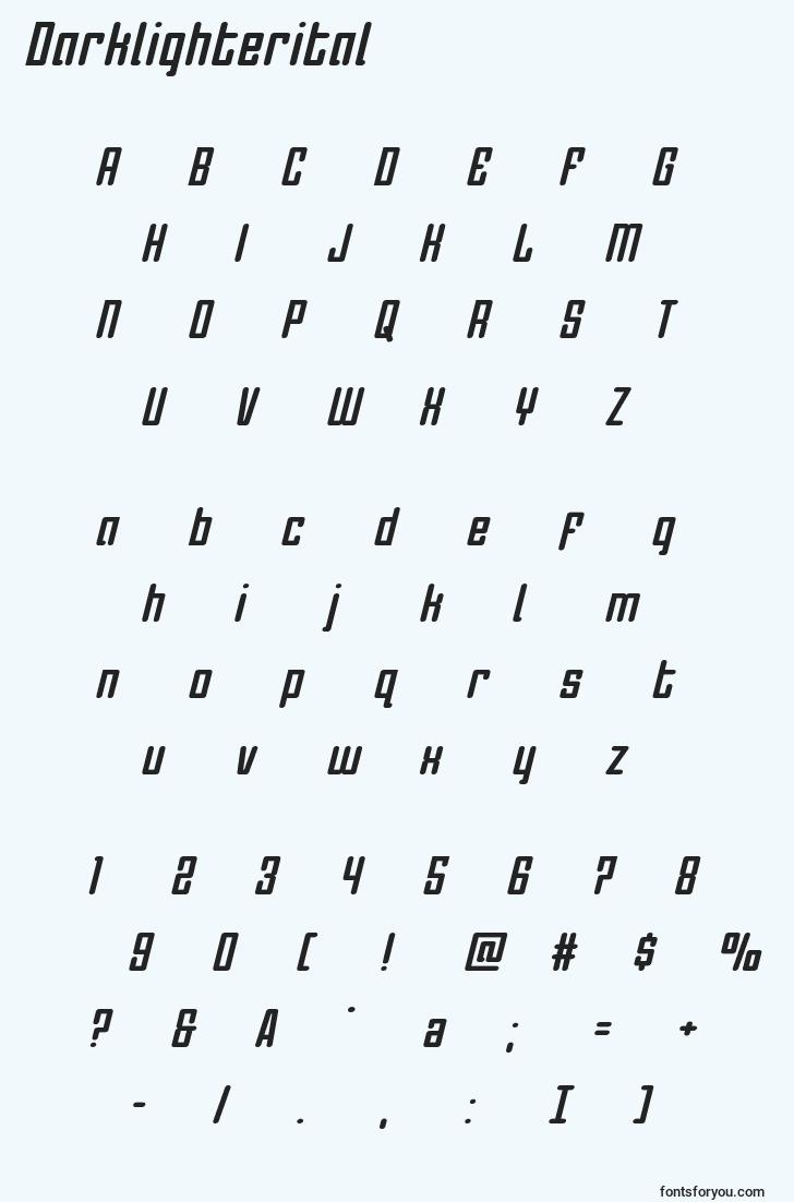 characters of darklighterital font, letter of darklighterital font, alphabet of  darklighterital font