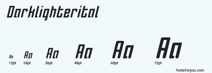 sizes of darklighterital font, darklighterital sizes
