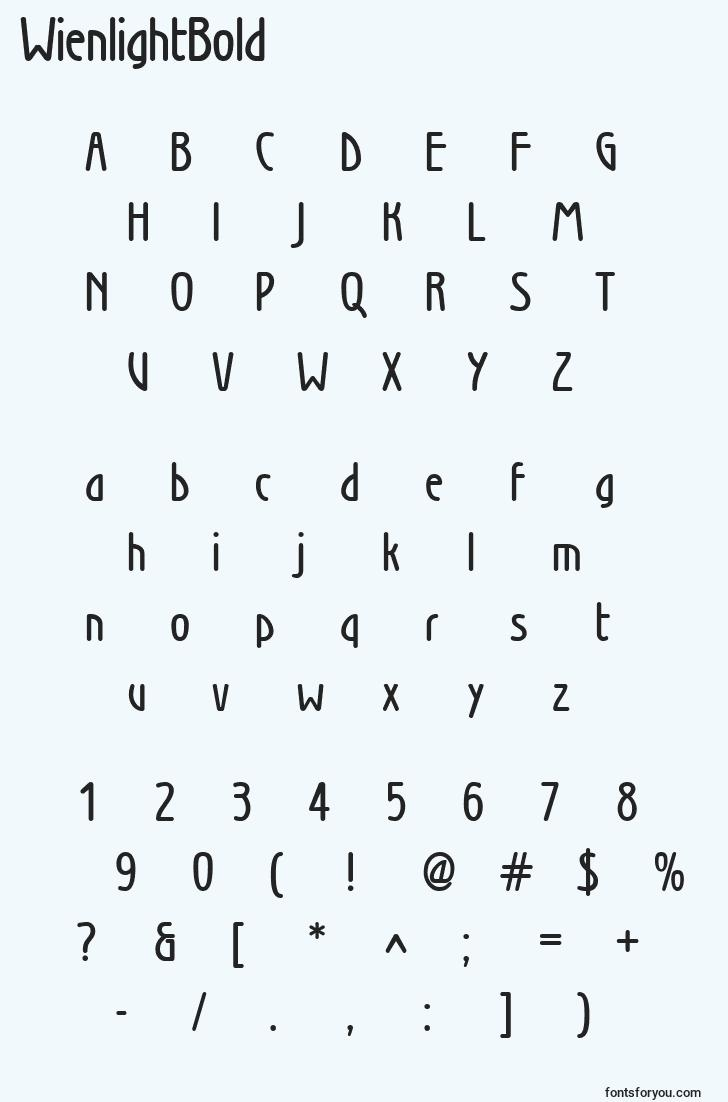 characters of wienlightbold font, letter of wienlightbold font, alphabet of  wienlightbold font