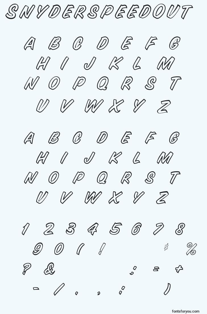 characters of snyderspeedout font, letter of snyderspeedout font, alphabet of  snyderspeedout font