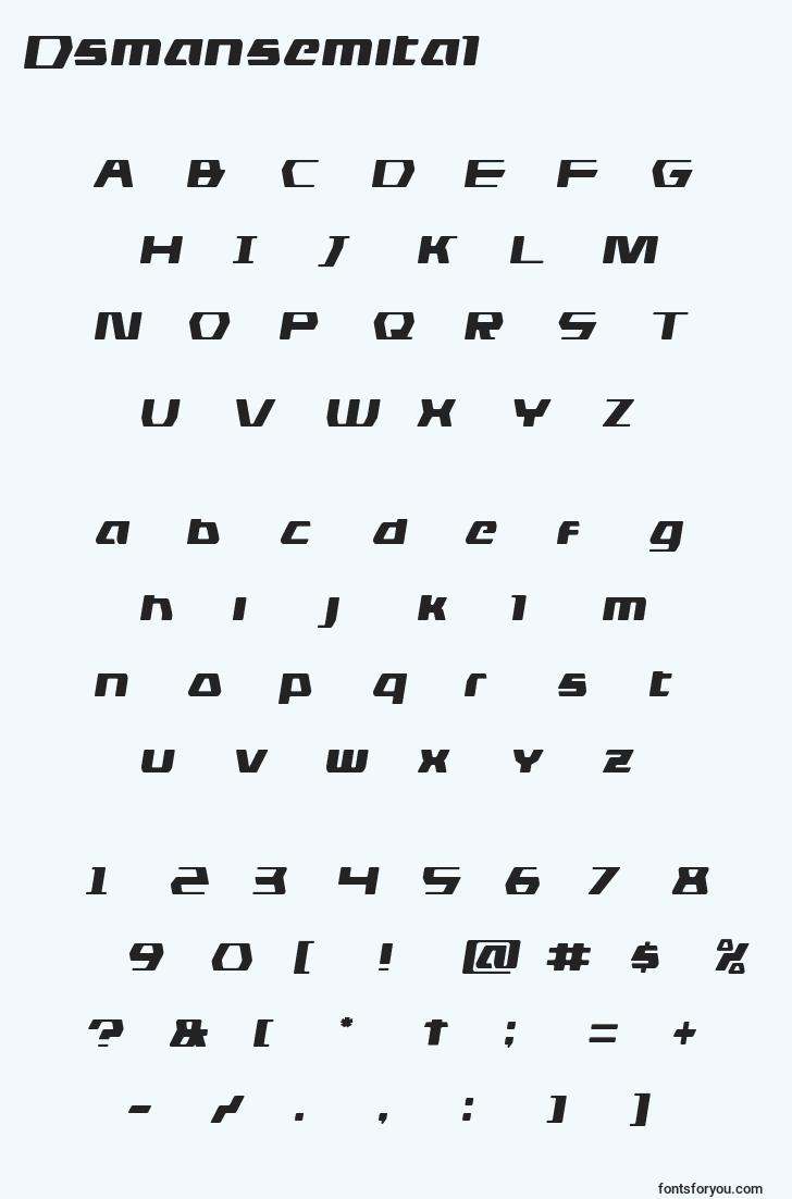 characters of dsmansemital font, letter of dsmansemital font, alphabet of  dsmansemital font