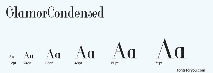 sizes of glamorcondensed font, glamorcondensed sizes