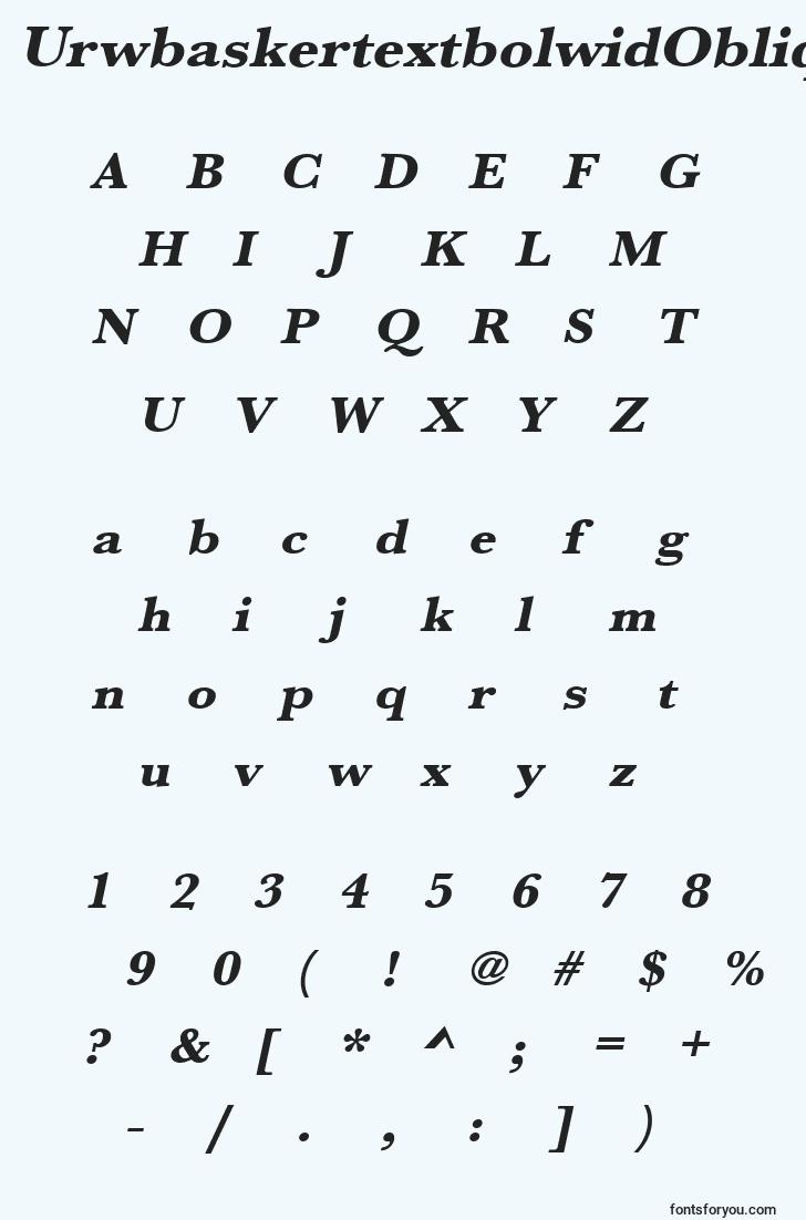characters of urwbaskertextbolwidoblique font, letter of urwbaskertextbolwidoblique font, alphabet of  urwbaskertextbolwidoblique font