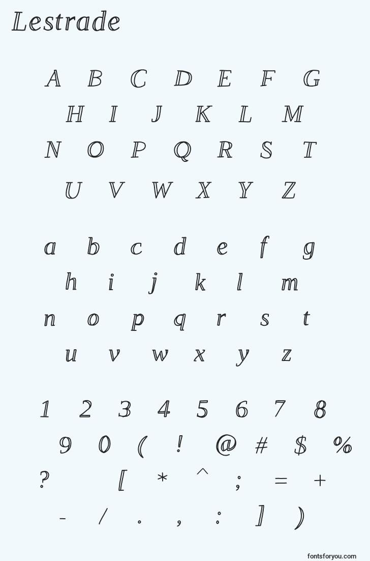 characters of lestrade font, letter of lestrade font, alphabet of  lestrade font