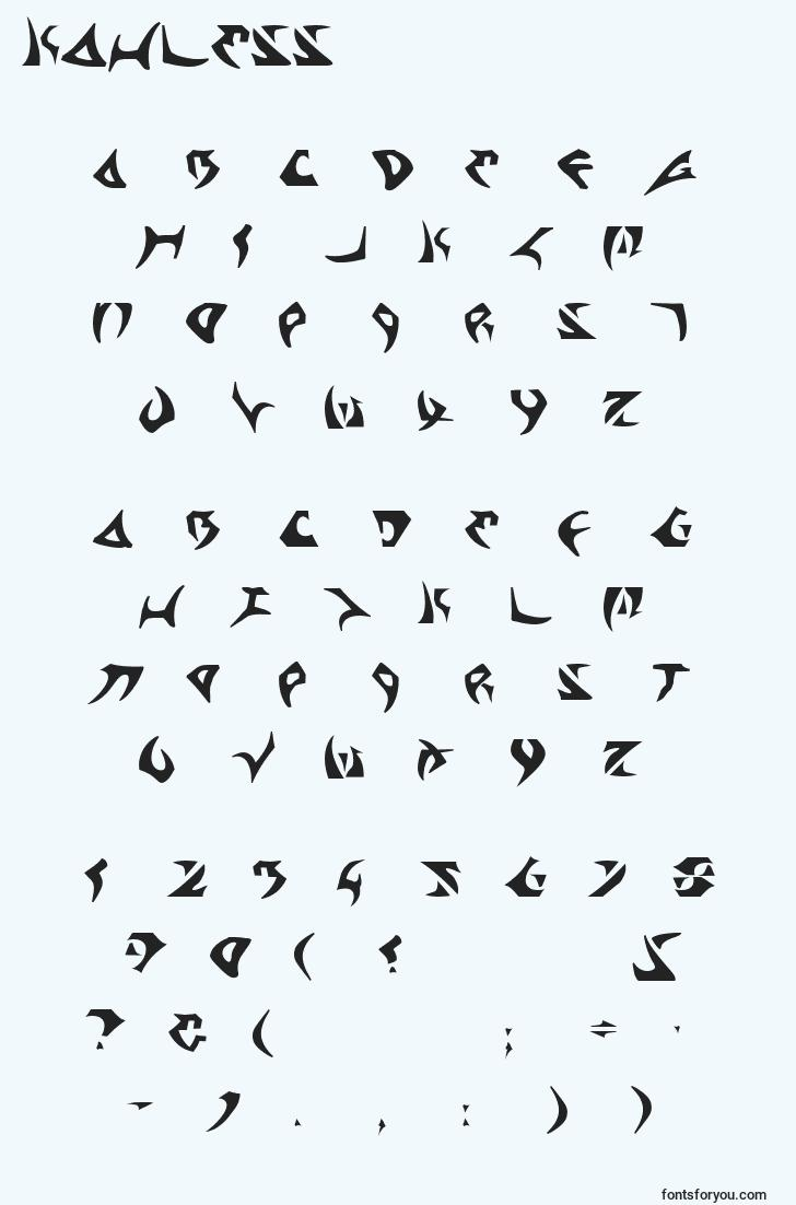 characters of kahless font, letter of kahless font, alphabet of  kahless font