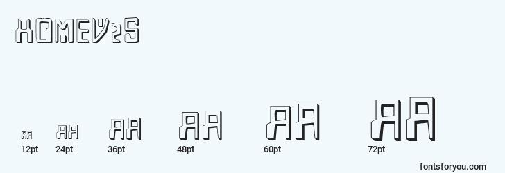 sizes of homev2s font, homev2s sizes