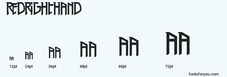 sizes of redrighthand font, redrighthand sizes