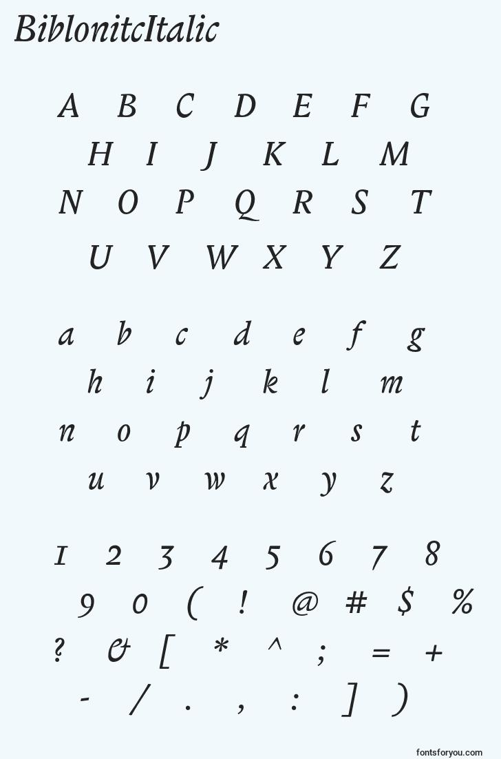 characters of biblonitcitalic font, letter of biblonitcitalic font, alphabet of  biblonitcitalic font