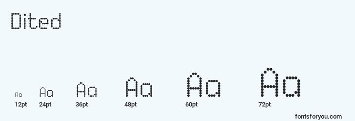 sizes of dited font, dited sizes