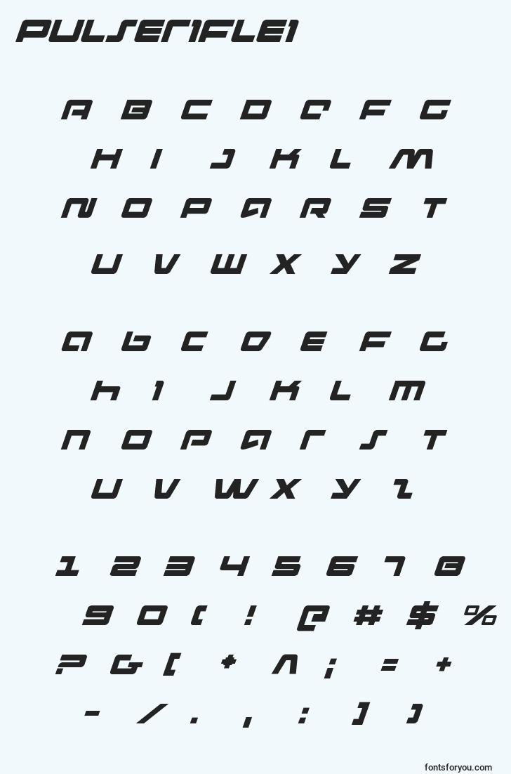 characters of pulseriflei font, letter of pulseriflei font, alphabet of  pulseriflei font