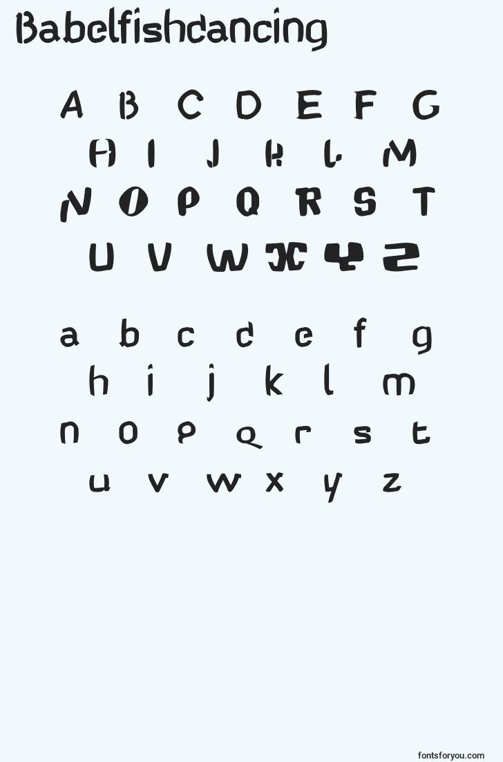 characters of babelfishdancing font, letter of babelfishdancing font, alphabet of  babelfishdancing font