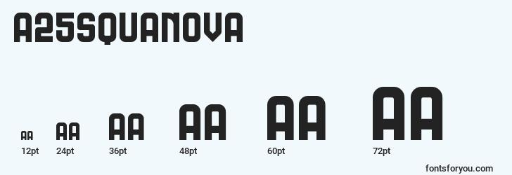 sizes of a25squanova font, a25squanova sizes