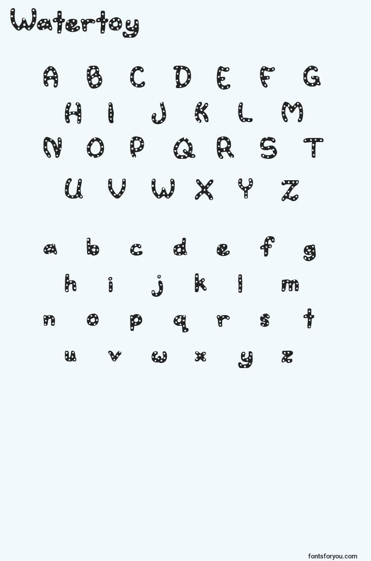 characters of watertoy font, letter of watertoy font, alphabet of  watertoy font