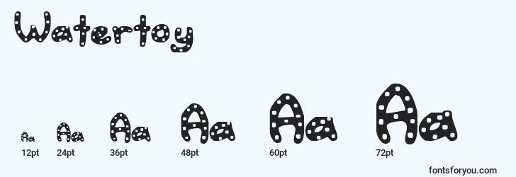 sizes of watertoy font, watertoy sizes