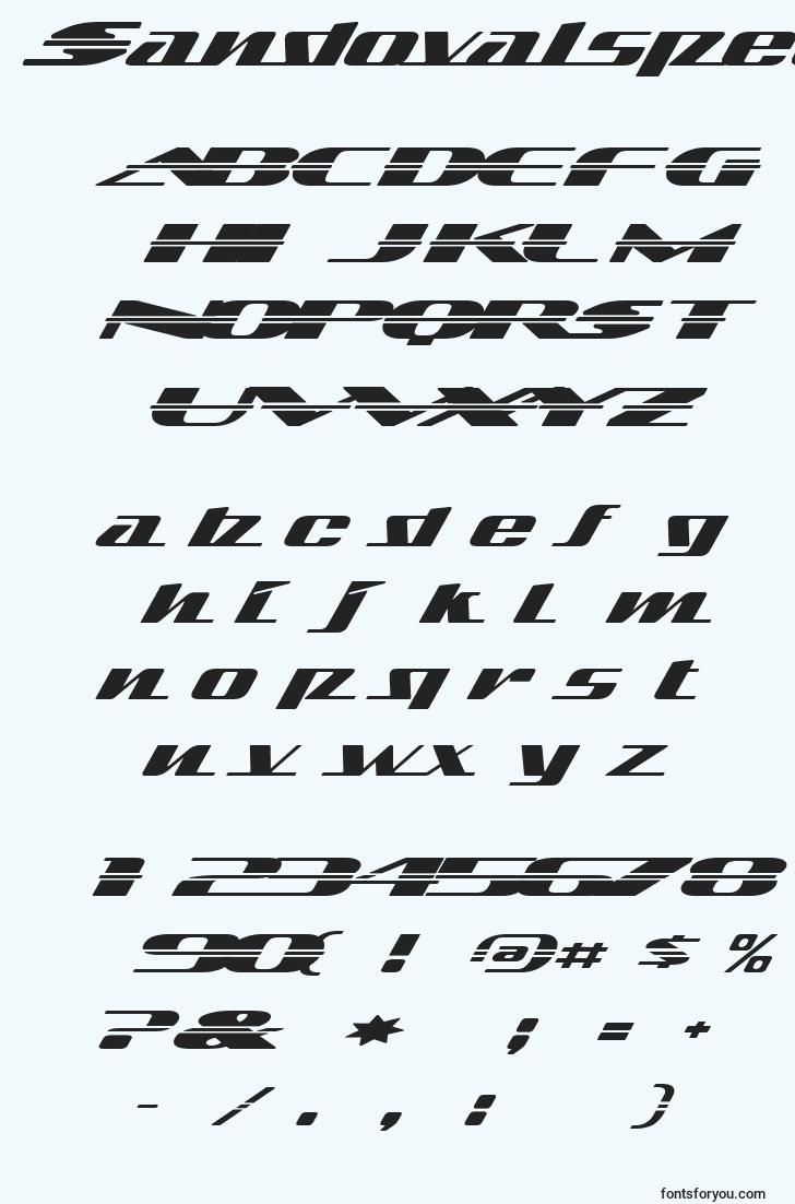 characters of sandovalspeed font, letter of sandovalspeed font, alphabet of  sandovalspeed font