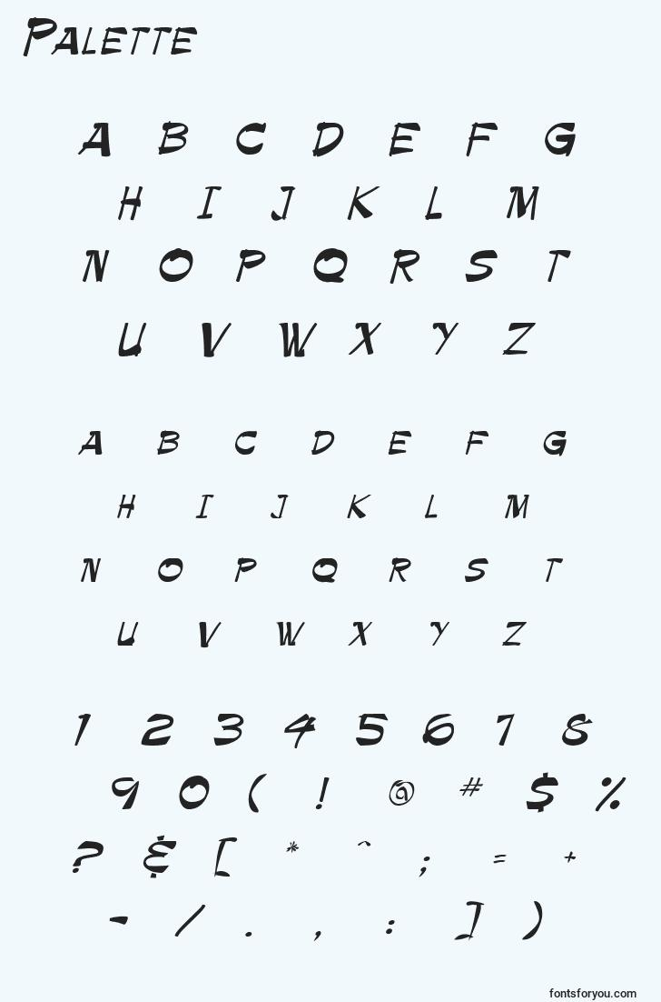 characters of palette font, letter of palette font, alphabet of  palette font