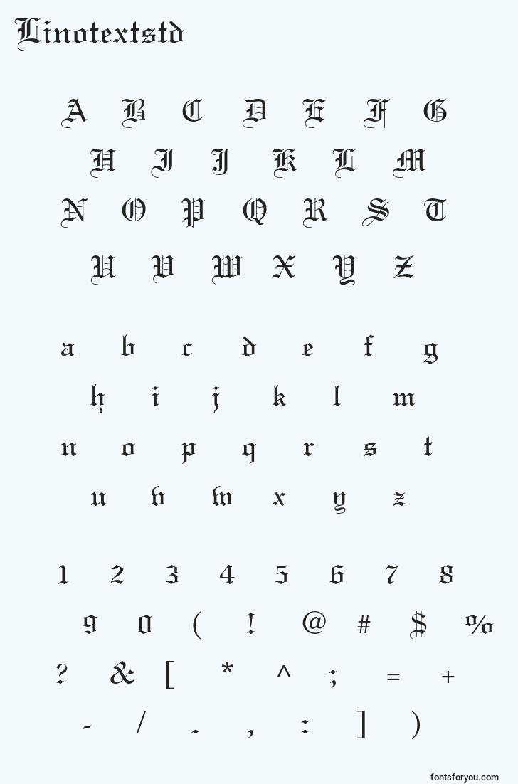 characters of linotextstd font, letter of linotextstd font, alphabet of  linotextstd font